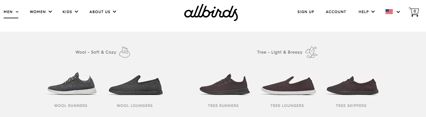 Information Architecture ecommerce - Allbirds products