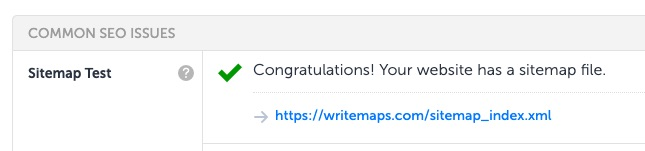 sitemap tool results