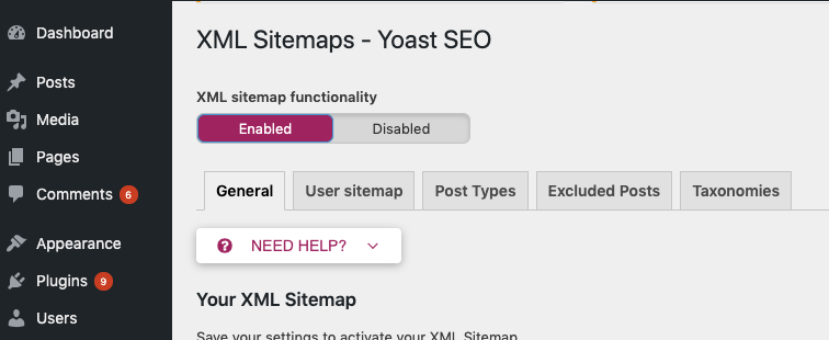 enable yoast in wp