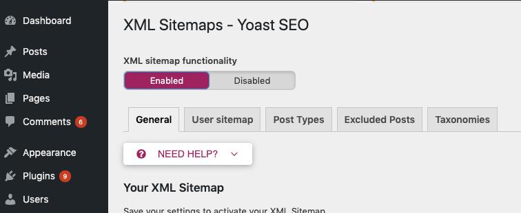 enable yoast in wp