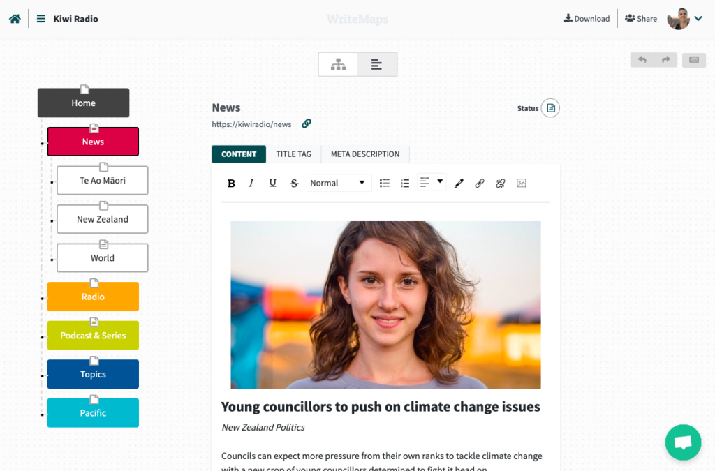 WriteMaps sitemap builder content view